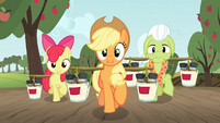 Applejack, Apple Bloom and Granny hauling paint S03E08