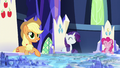 Applejack, Rarity, and Pinkie smiling S5E26.png