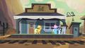 Applejack at the Dodge Junction train station S2E14.png