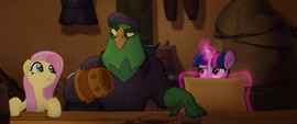 Fluttershy and Boyle drumming together MLPTM