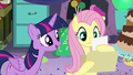 """Fluttershy reads """"Twilight Sparkle likes vanilla ice cream, red balloons, dancing..."""" S5E11.png"""
