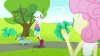 Fluttershy waving to Lyra Heartstrings SS14