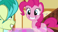 Pinkie Pie grinning happily at Sandbar S8E2