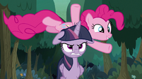 Pinkie Pie jumping over fake Twilight S8E13