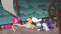 Ponies fight over the map in Pinkie's story S6E22