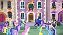 Princess Luna cuts the ribbon with her hoof S7E10