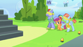 Scootaloo leading blindfolded Bow and Windy S7E7.png