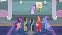 Starlight looks disapprovingly at Trixie S9E20