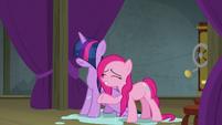 Twilight Sparkle and Pinkie Pie soaking wet S8E7