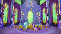 Twilight and Ember surrounded by half-eaten walls S7E15