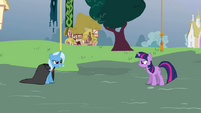 Twilight and Trixie about to duel
