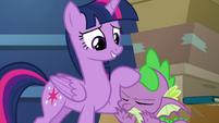 Twilight rubbing Spike's head S9E26