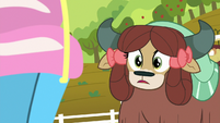 Yona looking at Pinkie's lucky pot S9E7