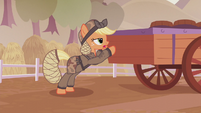 Applejack closing up the barrel cart S5E25