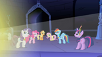Main 6 ponies looking at Celestia's light S1E2