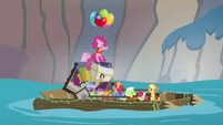 Pinkie Pie floats onto raft S4E09