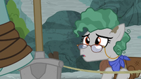 Professor Fossil looking up at Rockhoof S8E21