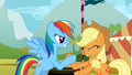 Rainbow Dash and Applejack in a hoof wrestling competition S01E13.png
