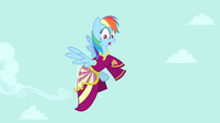 Rainbow Dash flying in Rarity's dress S4E23