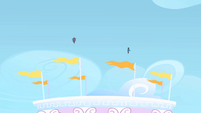 Rarity and Rainbow Dash flying into the sky S1E16