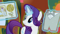 Rarity levitating Restaurant Row flyer and tuxedo S6E12