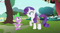 Rarity pleased and Spike nervous S4E23