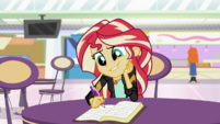 Sunset Shimmer writing to Princess Twilight EGS3
