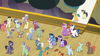 Twilight's family and ponies hear cruise director S7E22