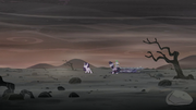 Twilight, Spike, and Starlight on the barren landscape S5E26