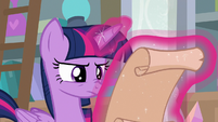 Twilight Sparkle reading the scroll S8E25