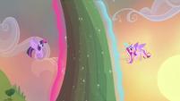 Twilight and Cadance using magic to levitate flower S4E11