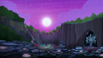 Wide view of the Mane Six's campsite S8E13