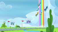 Wonderbolts diving toward the runway S7E7