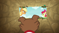 AJ and Apple Bloom over Winona in the trap S9E10