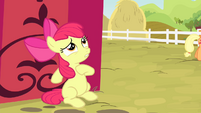 Apple Bloom hiding from Applejack S4E17