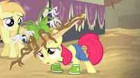 Apple Bloom in muddy hat and galoshes S4E13