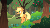 Applejack walking past apple orchard S01E18