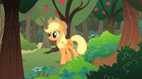 Applejack walking past apple orchard S01E18