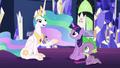 Celestia tells Twilight and Spike a story S7E1.png