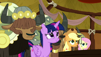 Main ponies and yaks listening to Pinkie S8E18