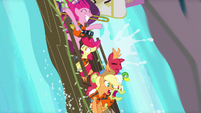 Pinkie and Apples going down waterfall S4E09