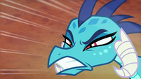 Princess Ember bares her teeth at Bear-Thorax S7E15