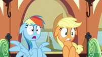 Rainbow and Applejack shocked by Fluttershy's outburst S6E18