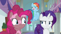 Rainbow and Rarity look unamused at Pinkie S8E15