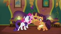 Rarity, Pinkie, Coriander, and Saffron group hug S6E12