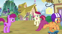 Scootaloo speeds past Berryshine and Rose S9E22