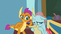 Smolder trying to hear Ocellus cheer S9E15