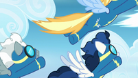 Wonderbolts fly across the screen S6E7
