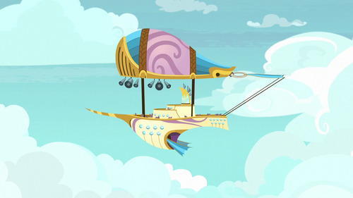 Zeppelin flying through the sky S7E22