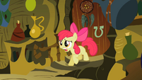 Apple Bloom in front of door S2E06